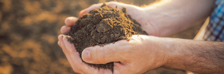 mão segurando o solo